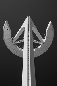 The contemporary abstract design of the Calatrava Telecommunications Tower, Barcelona, Spain,