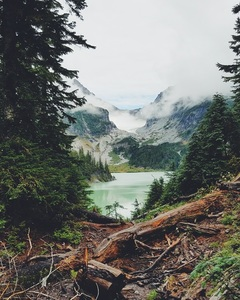 Foggy weather in Blanca Lake, United States