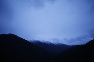 Blue dusk in the mountains