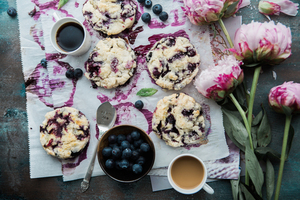 Blueberry scones with flowers