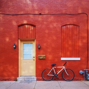 Red facade and bike