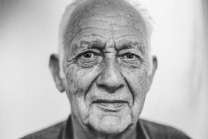 Old man in black and white