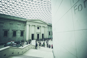 British Museum with visitors inside