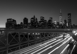 Pont de Brooklyn et de New York en noir et blanc
