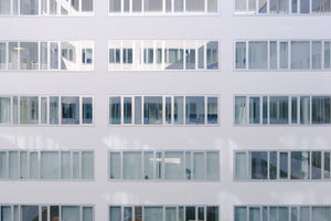 White building with many windows