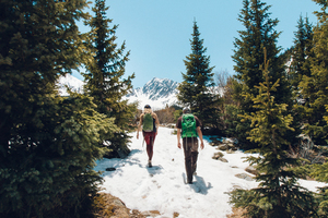 Two hikers in a snow