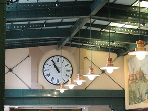 Lamps and clock at a train station