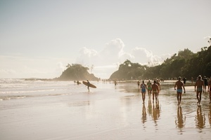 People in beach of Byron Bay, Australia