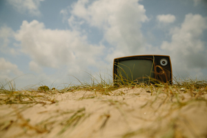 Retro TV in the sand