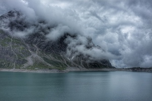 Calm and cloudy over lake