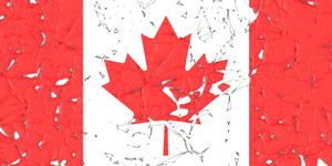 Canadian flag with peeled parts