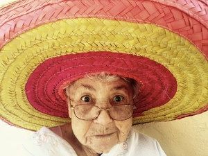 Grandma with sombrero