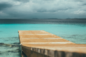 Caribbean sea with pier