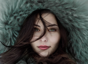 Girl in fur cap