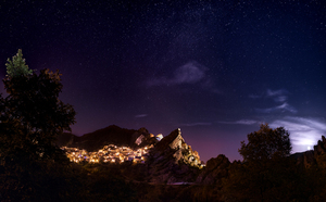 Night view of Castelmezzano, Italy
