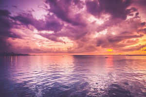 Sunset and cloudy sky over water