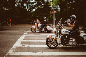 Police bikers in the street