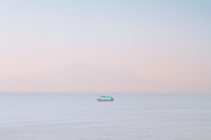 Lone boat on sea