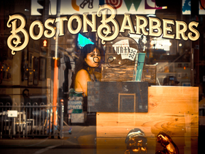 Window of ''Boston Barbers''