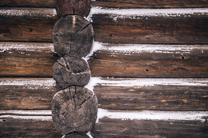 Wooden cabin wall