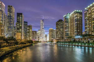 Night lights of Chicago, United States