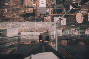 Legs on Chicago sky deck