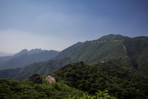 Chinese wall with green hills