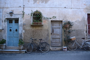 Bikes on old facades