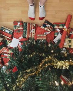 Legs in front of presents