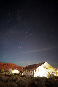 Tents under starry sky