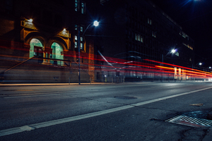 ity street light trails in Toronto