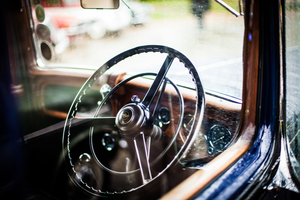 Steering wheel of retro car