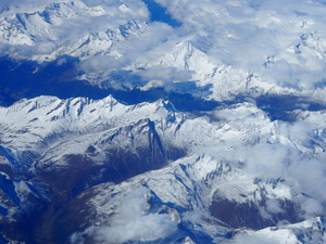Cloudy Alps from above
