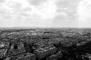 Cloudy Paris cityscape
