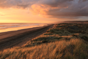 Cloudy sunset over the sand dunes