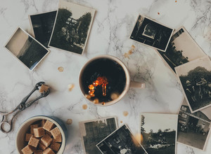 Coffee and vintage photos