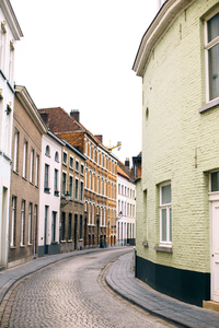 Curved street with buildings