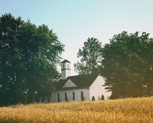 Church in dried field