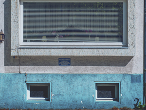 Blue facade and shaded window