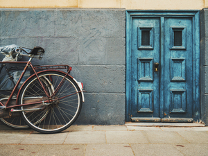 Bike by the blue door