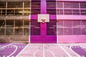 Colorful basketball court