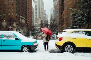 Colorful cars in snow
