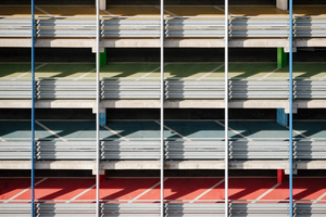 Colorful parking garage ramps