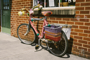 Colorful yarn on bike