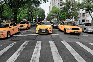 Yellow cabs in traffic