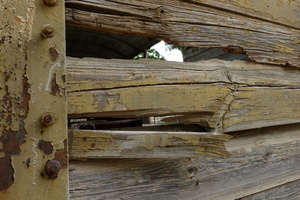 Damaged wooden construction