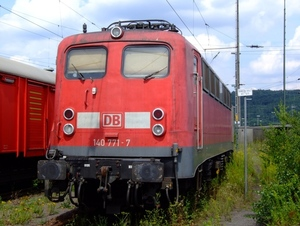 Electric locomotive on the rails