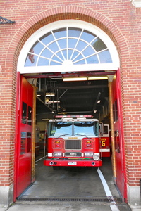 Firetruck in firehouse