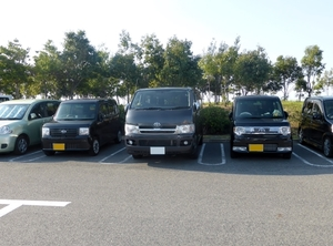 Japanese cars on parking