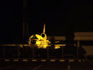 Airplane on the airport at night